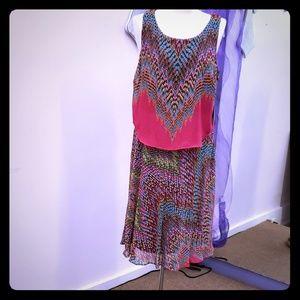 Robbie Bee fuschia/ turquoise midi Dress
